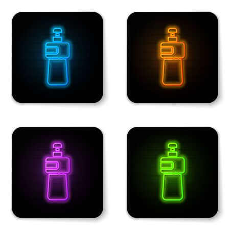 Glowing neon Dishwashing liquid bottle icon isolated on white background. Liquid detergent for washing dishes. Black square button. Vector Illustration