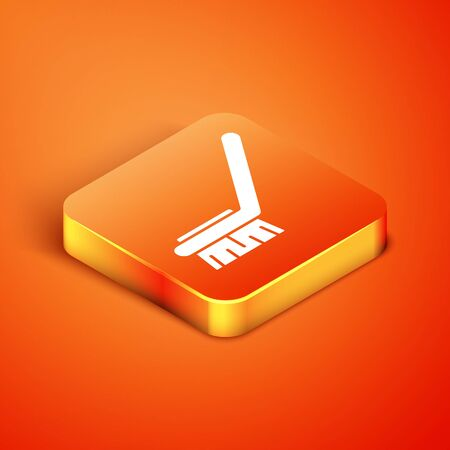 Isometric Brush for cleaning icon isolated on orange background. Cleaning service concept. Vector Illustration