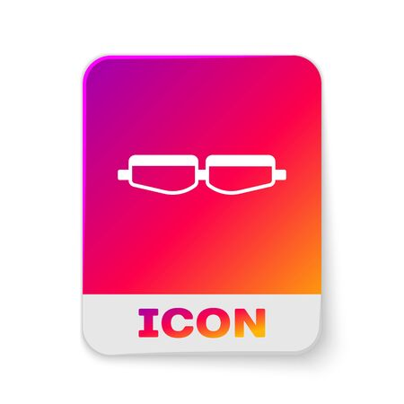 White Safety goggle glasses icon isolated on white background. Rectangle color button. Vector Illustration Ilustração