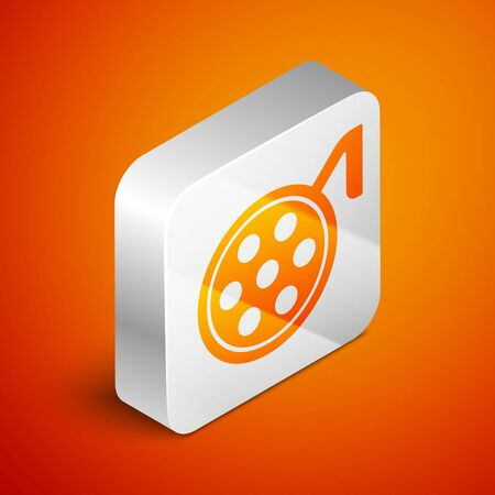 Isometric Surgery lamp icon isolated on orange background. Silver square button. Vector Illustration.