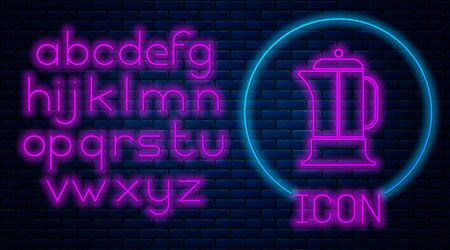 Glowing neon French press icon isolated on brick wall background. Neon light alphabet. Vector Illustration