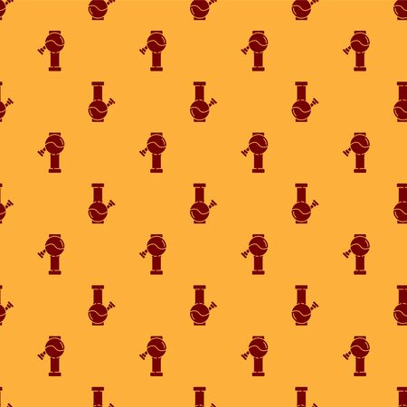 Red Glass bong for smoking marijuana or cannabis icon isolated seamless pattern on brown background. Vector Illustration