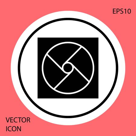Black Ventilation icon isolated on red background. White circle button. Vector Illustration