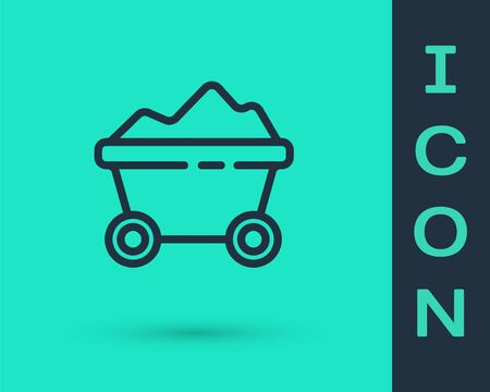 Black line Coal mine trolley icon isolated on green background. Factory coal mine trolley. Vector Illustration.