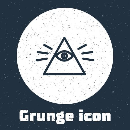 Grunge line Masons symbol All-seeing eye of God icon isolated on grey background. The eye of Providence in the triangle. Monochrome vintage drawing. Vector Illustration