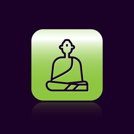Black line Buddhist monk in robes sitting in meditation icon isolated on black background. Green square button. Vector Illustration