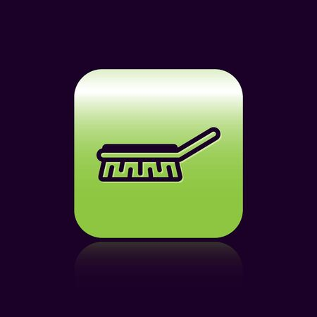 Black line Brush for cleaning icon isolated on black background. Cleaning service concept. Green square button. Vector Illustration