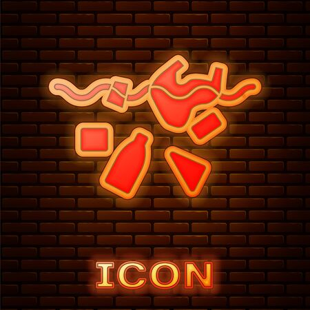 Glowing neon The problem of pollution of the ocean icon isolated on brick wall background. The garbage, plastic, bags on the sea. Vector Illustration
