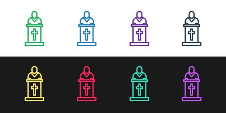 Set line Church pastor preaching icon isolated on black and white background. Vector Illustration Vectores