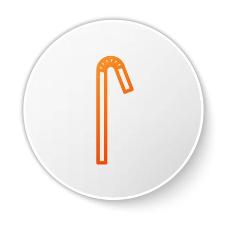 Orange line Drinking plastic straw icon isolated on white background. White circle button. Vector Illustration Ilustração