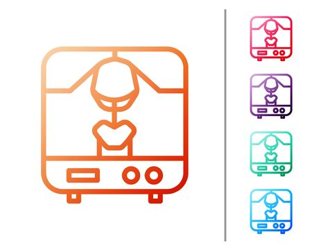 Red line X-ray machine icon isolated on white background. Set color icons. Vector Illustration