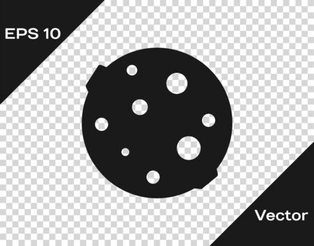 Black Moon icon isolated on transparent background. Vector Illustration
