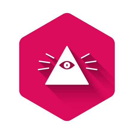 White Masons symbol All-seeing eye of God icon isolated with long shadow. The eye of Providence in the triangle. Pink hexagon button. Vector Illustration  イラスト・ベクター素材