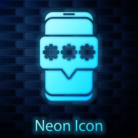 Glowing neon Mobile and password protection icon isolated on brick wall background. Security, safety, personal access, user authorization, privacy. Vector Illustration