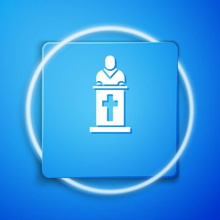 White Church pastor preaching icon isolated on blue background. Blue square button. Vector Illustration