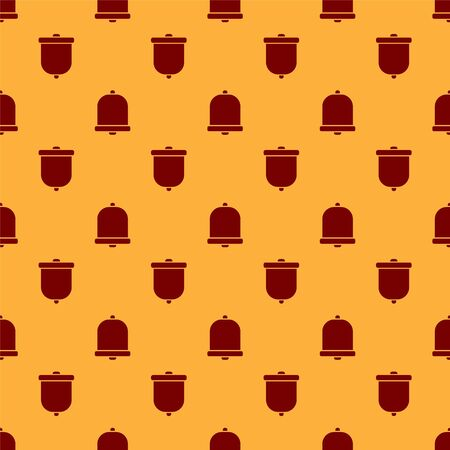 Red Church bell icon isolated seamless pattern on brown background. Alarm symbol, service bell, handbell sign, notification symbol. Vector Illustration