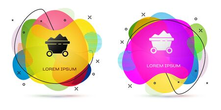 Color Coal mine trolley icon isolated on white background. Factory coal mine trolley. Abstract banner with liquid shapes. Vector Illustration