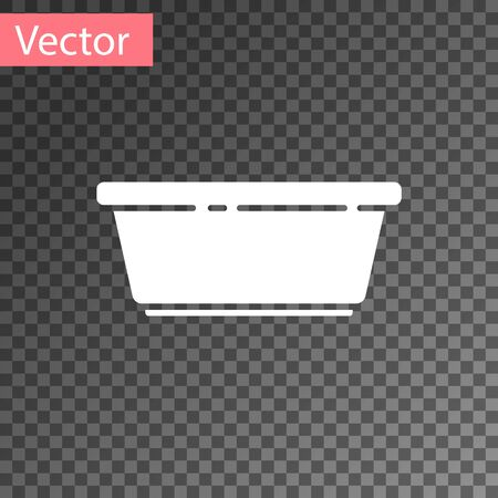 White Plastic basin icon isolated on transparent background. Bowl with water. Washing clothes, cleaning equipment. Vector Illustration