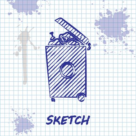 Sketch line Trash can icon isolated on white background. Garbage bin sign. Recycle basket icon. Office trash icon. Vector Illustration