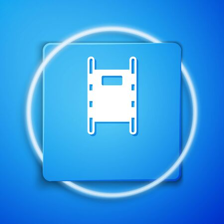 White Stretcher icon isolated on blue background. Patient hospital medical stretcher. Blue square button. Vector Illustration Vectores