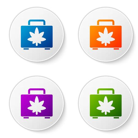 Color Shopping box of medical marijuana or cannabis leaf icon isolated on white background. Buying cannabis. Hemp symbol. Set icons in circle buttons. Vector Illustration