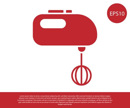Red Electric mixer icon isolated on white background. Kitchen blender. Vector Illustration