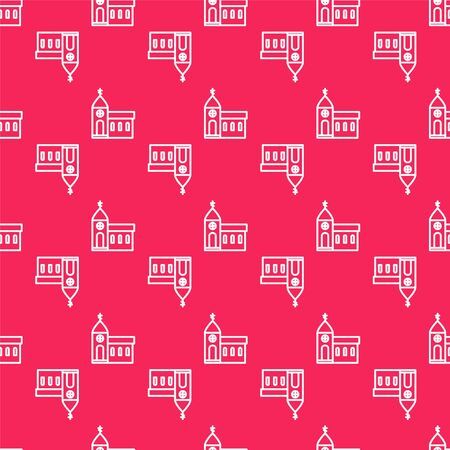 White line Church building icon isolated seamless pattern on red background. Christian Church. Religion of church. Vector Illustration