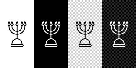 Set line Hanukkah menorah icon isolated on black and white background. Hanukkah traditional symbol. Holiday religion, jewish festival of Lights. Vector Illustration Ilustracja