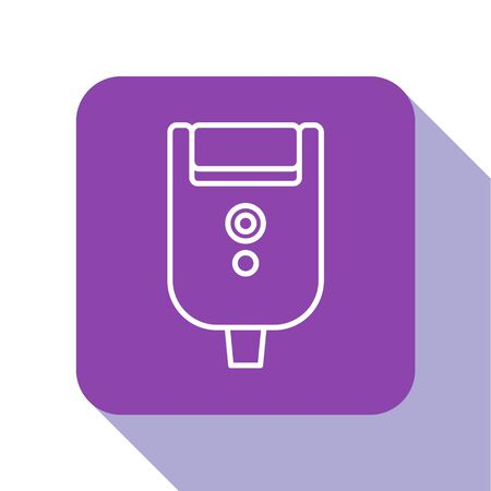 White line Electric razor blade for men icon isolated on white background. Electric shaver. Purple square button. Vector Illustration