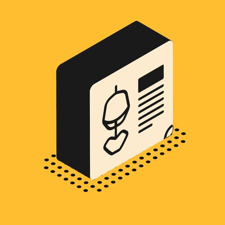 Isometric X-ray shots icon isolated on yellow background. Vector Illustration