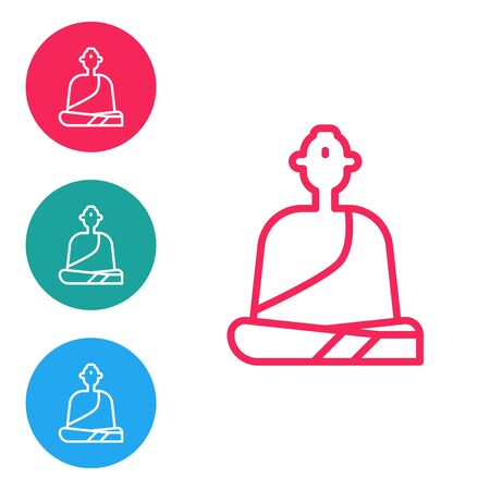 Red line Buddhist monk in robes sitting in meditation icon isolated on white background. Set icons in circle buttons. Vector Illustration