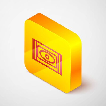 Isometric line Traditional carpet culture ramadan arabic islamic celebration icon isolated on grey background. Yellow square button. Vector Illustration