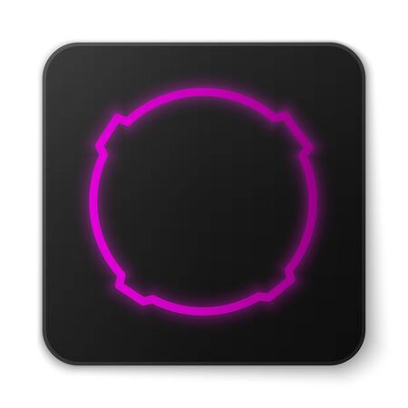 Glowing neon line Moon icon isolated on white background. Black square button. Vector Illustration 向量圖像