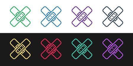 Set line Crossed bandage plaster icon isolated on black and white background. Medical plaster, adhesive bandage, flexible fabric bandage. Vector Illustration