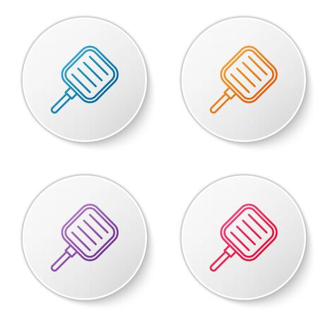 Color line Frying pan icon isolated on white background. Fry or roast food symbol. Set icons in circle buttons. Vector Illustration 向量圖像