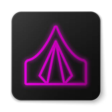 Glowing neon line Tourist tent icon isolated on white background. Camping symbol. Black square button. Vector Illustration