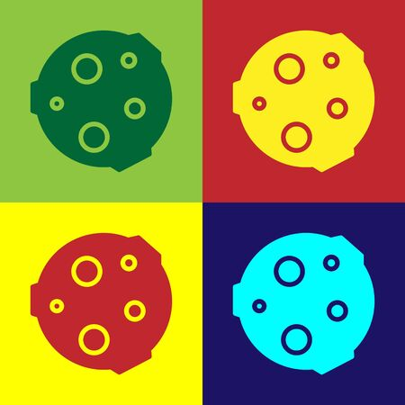 Pop art Moon icon isolated on color background. Vector Illustration.