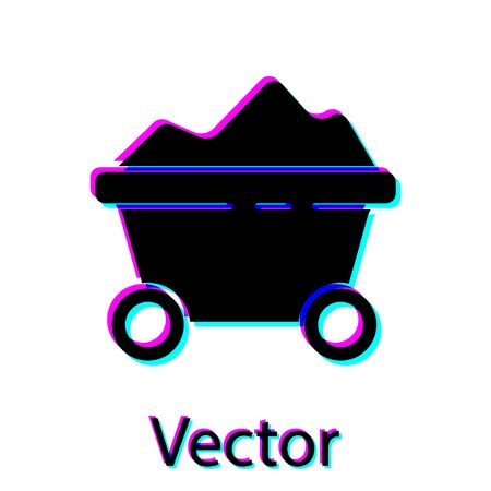 Black Coal mine trolley icon isolated on white background. Factory coal mine trolley. Vector Illustration.