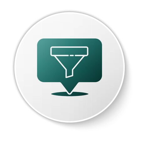 Green Location with sales funnel icon isolated on white background. Infographic template. White circle button. Vector Illustration.