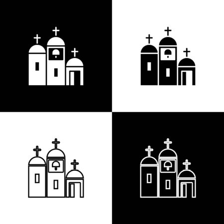 Set Church building icon isolated on black and white background. Christian Church. Religion of church. Vector Illustration.