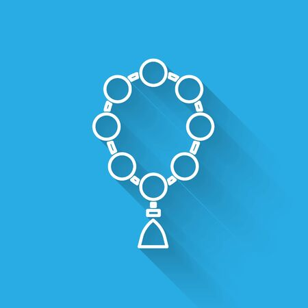 White line Rosary beads religion icon isolated with long shadow. Vector Illustration.