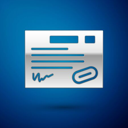 Silver Warranty certificate template icon isolated on blue background. Vector Illustration.