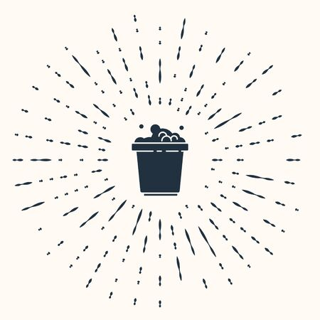 Grey Bucket with soap suds icon isolated on beige background. Bowl with water. Washing clothes, cleaning equipment. Abstract circle random dots. Vector Illustration. Ilustração
