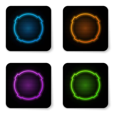 Glowing neon Moon icon isolated on white background. Black square button. Vector Illustration. 向量圖像