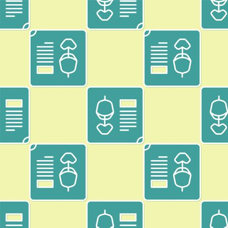 Green X-ray shots icon isolated seamless pattern on yellow background. Vector Illustration.