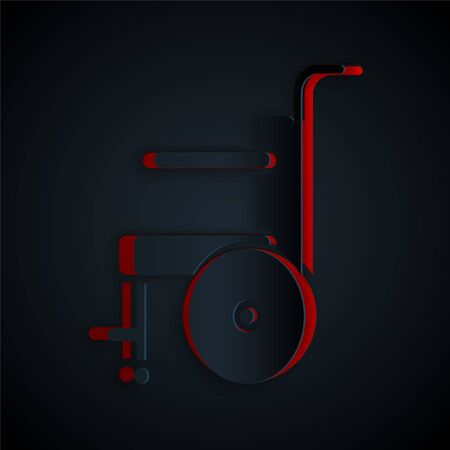 Paper cut Wheelchair for disabled person icon isolated on black background. Paper art style. Vector Illustration.