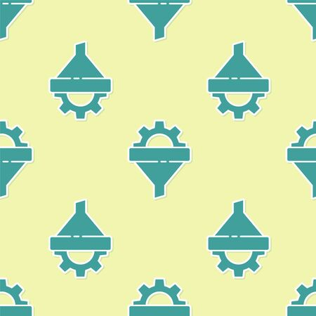 Green Sales funnel with arrows for marketing and startup business icon isolated seamless pattern on yellow background. Infographic template. Vector Illustration.