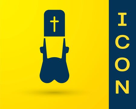 Blue Priest icon isolated on yellow background. Vector Illustration. Illustration