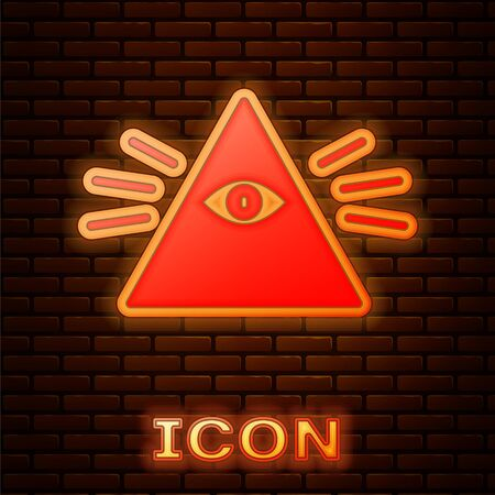 Glowing neon Masons symbol All-seeing eye of God icon isolated on brick wall background. The eye of Providence in the triangle. Vector Illustration. Illustration