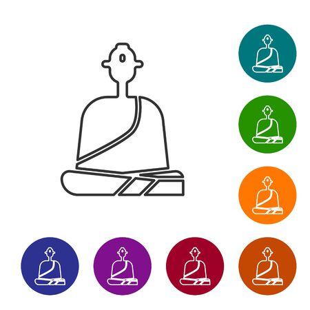 Black line Buddhist monk in robes sitting in meditation icon isolated on white background. Set icons in color circle buttons. Vector Illustration.
